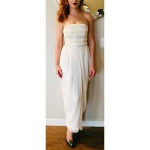 JASON WU Cream Silk Beaded Strapless Dress 8 4